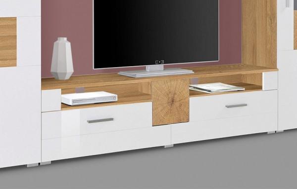 Lowboard TV-Unterschrank votaneiche weiß hochglanz