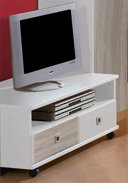 TV-Lowboard Sunny TV-Unterschrank weiß struktureichefarben hell