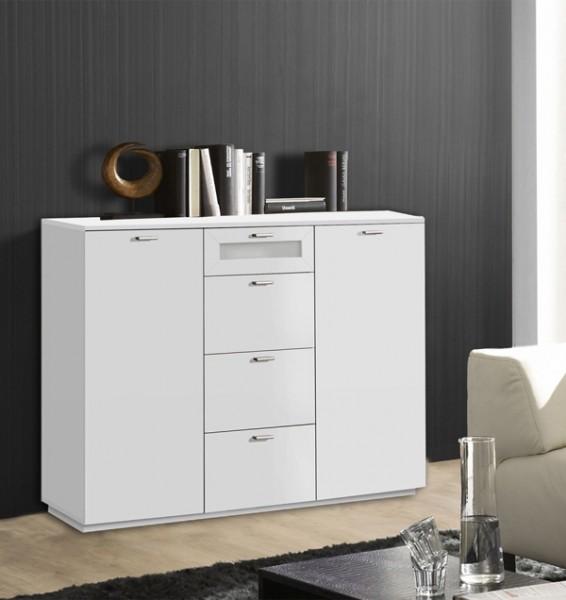 Kommode Anrichte 2trg mit Schubladen weiß matt Weißglas 120cm Neu