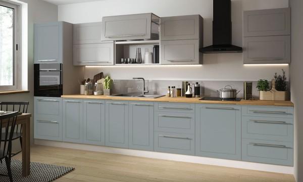 Küchenzeile Küchenblock Küche Komplett Modern 8cm grau dust grey mint