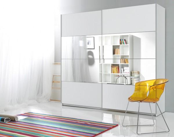 Schiebetürenschrank Kleiderschrank Schlafzimmerschrank Schrank mit Spiegel 221cm weiß Neu
