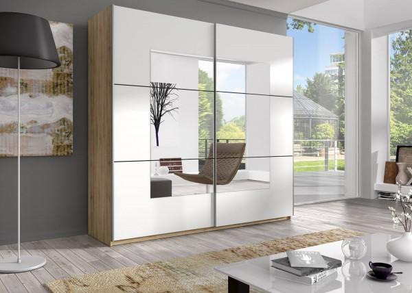 Schwebetürenschrank Kleiderschrank Schlafzimmerschrank Schrank mit Spiegel 221cm san remo hell / wei
