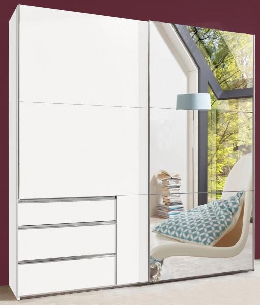 Schwebetürenschrank Level Kleiderschrank 250cm 2-türig weiß Spiegel