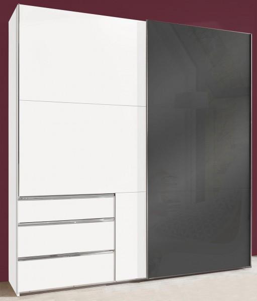Schwebetürenschrank Level Kleiderschrank mit Schubladen 2-türig 200cm weiß Glasgrau (15736)