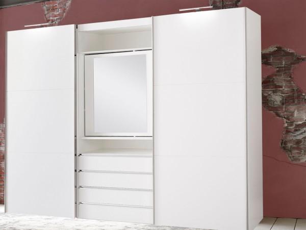 Schwebetürenschrank Magie Kleiderschrank 300cm 2-türig weiß drehbares Spiegelelement (13797)