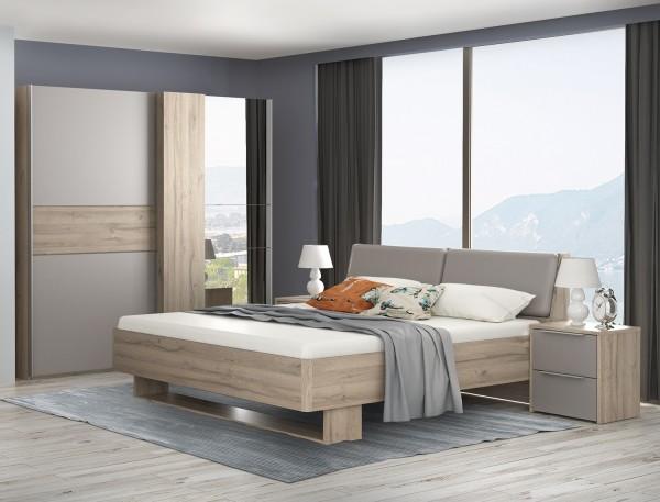 Schlafzimmer Set komplett 4-teilig Bianco Eiche Basalt grau Neu