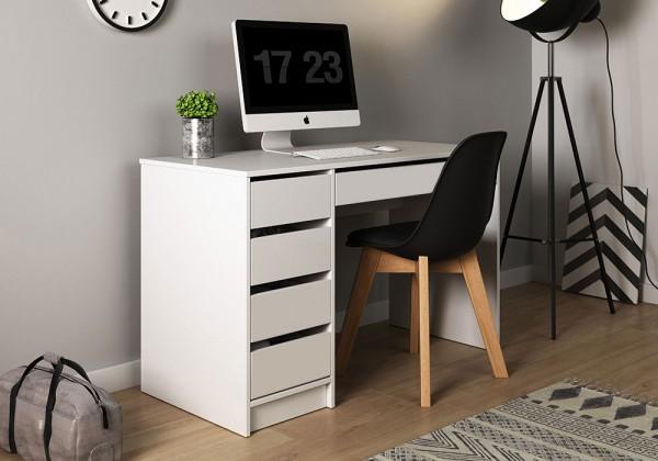 Schreibtisch Computertisch PC-Tisch 120x55cm weiß grifflos