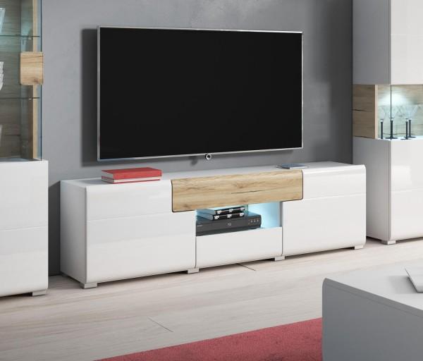 """TV-Unterschrank """"Toledo"""" Lowboard 159cm weiß Hochglanz / eiche sanremo"""