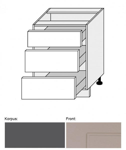 Küchenschrank Q-D3E/60 Schubladenunterschrank 60cm Küche lava beige matt