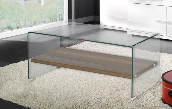 Couchtisch Glastisch 100x50cm Glas nussbaum