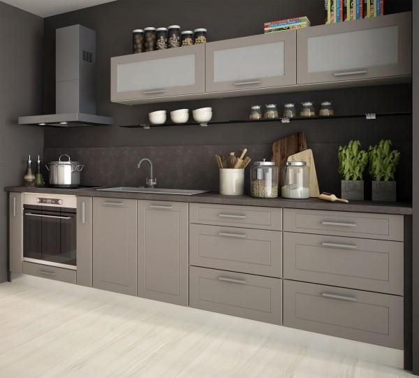 Küchenzeile Kvantum Einbauküche 9-teilig 290cm bergesche Front MDF beige matt