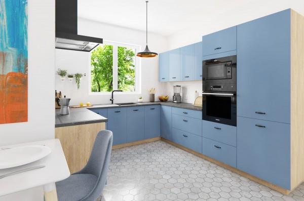 U-Form Küchenzeile mit Vollauszug bergesche himmelblau - Ausstattung wählbar