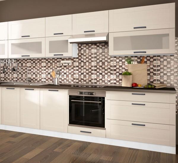 """Küchenzeile """"Tytan"""" Einbauküche 280cm weiß Front MDF fino weiß"""