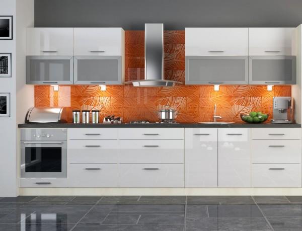 """Küchenzeile """"Platinum"""" Einbauküche 340cm bergesche MDF Fronten weiß Hochglanz"""