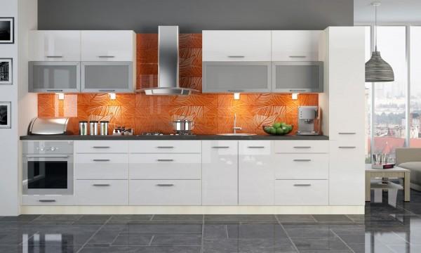 """Küchenzeile """"Platinum"""" Einbauküche 380cm bergesche / Fronten MDF weiß Hochglanz"""