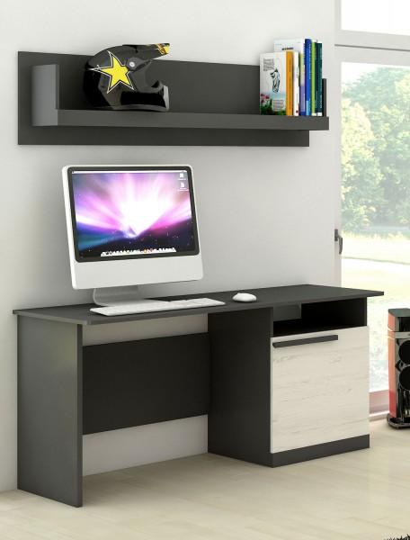 """Schreibtisch """"Trend"""" Computertisch 140x60cm graphit grau andersen kiefer MDF"""