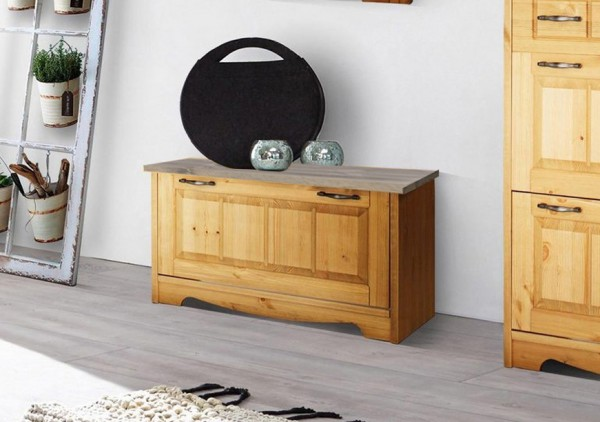 "Sitzbank ""Trinidad"" Schuhkipper 86cm Kiefer massiv natur grau Landhaus-Stil"