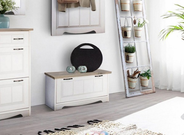 "Sitzbank ""Trinidad"" Schuhkipper Landhaus 86cm lackiert matt Kiefer massiv weiß grau"