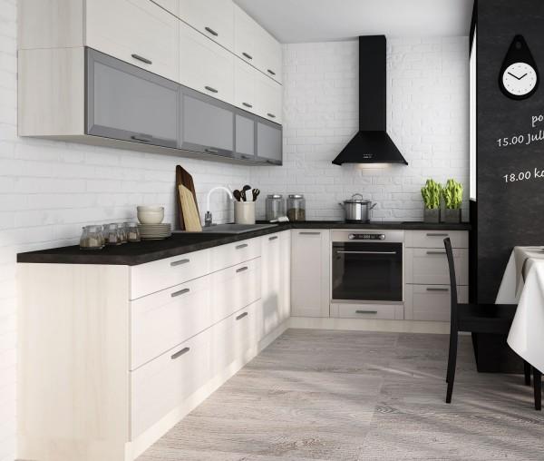 Küchenzeile Küche Einbauküche L-Form 310x210cm artisan eiche fino weiß
