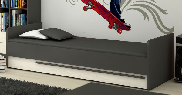 """Jugendbett """"Trend"""" Einzelbett 90x200cm graphit grau andersen kiefer MDF"""