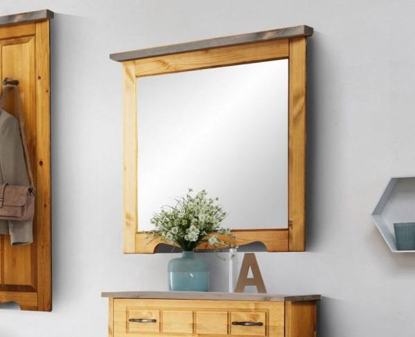 "Wandspiegel ""Trinidad"" Flurspiegel 80x73cm Kiefer Massiv natur grau"