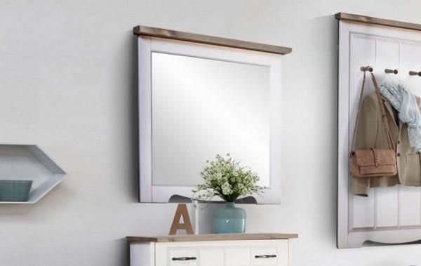 "Wandspiegel ""Trinidad"" Garderobenspiegel 80x73cm Kiefer massiv weiß grau"