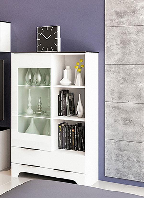 glasvitrine vitrine highboard 81cm weiss hochglanz. Black Bedroom Furniture Sets. Home Design Ideas