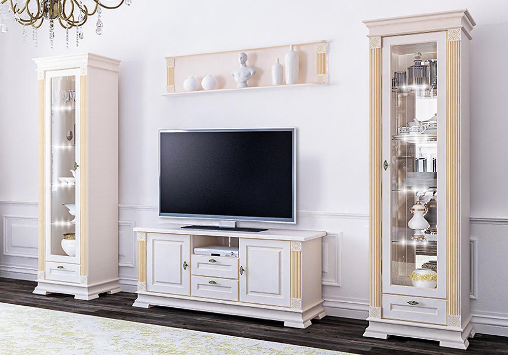 wohnwand anbauwand mit lowboard 4 teilig creme neu. Black Bedroom Furniture Sets. Home Design Ideas