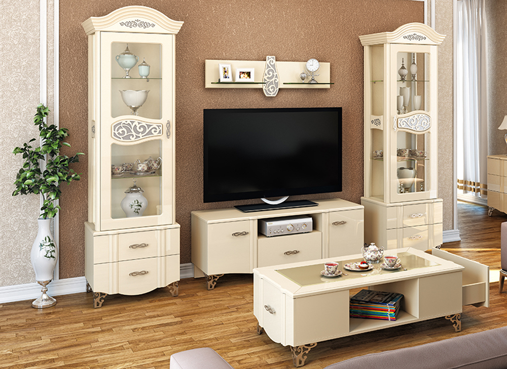 wohnwand anbauwand 4 teilig creme hochglanz neu. Black Bedroom Furniture Sets. Home Design Ideas