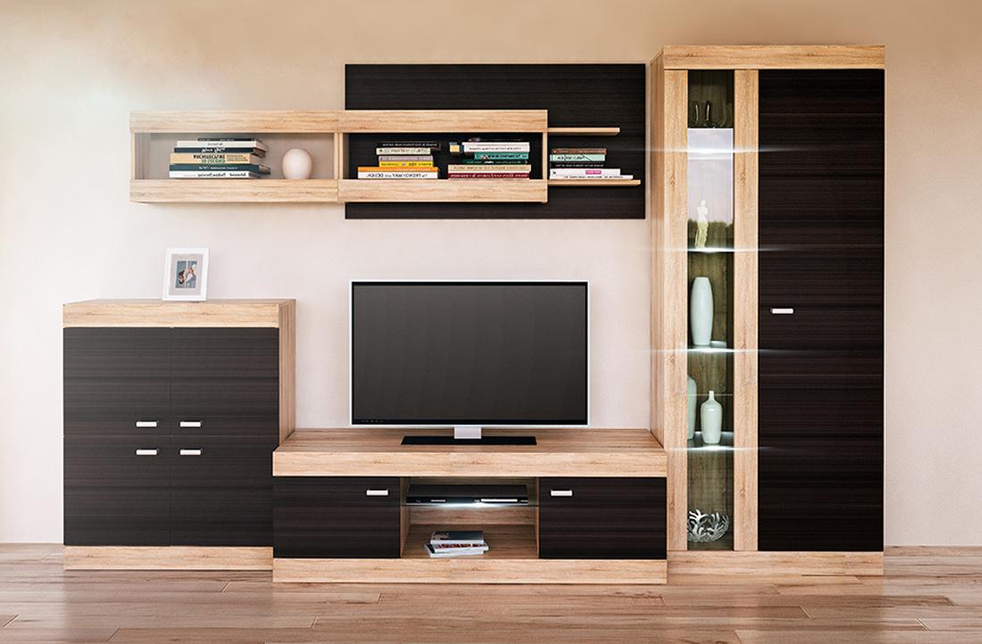 wohnwand anbauwand 5 teilig sonoma eiche niagara eiche. Black Bedroom Furniture Sets. Home Design Ideas